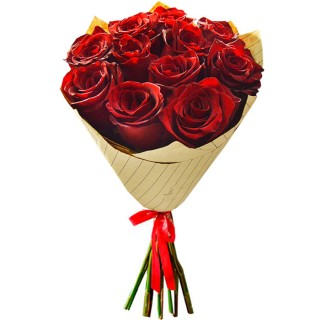 Букет Красные розы в крафте из 11 роз